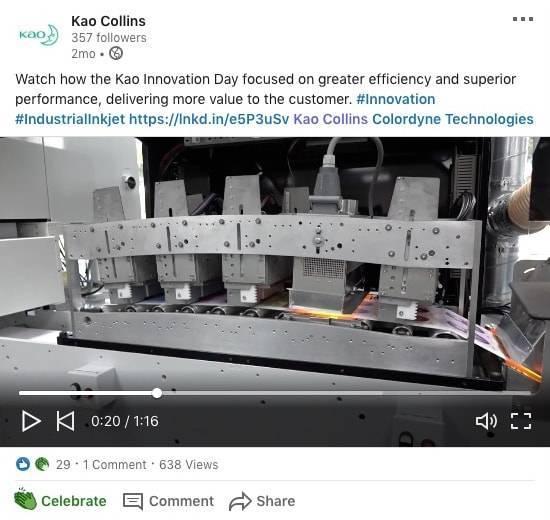 Kao Collins social media post promoting Kao Innovation Day