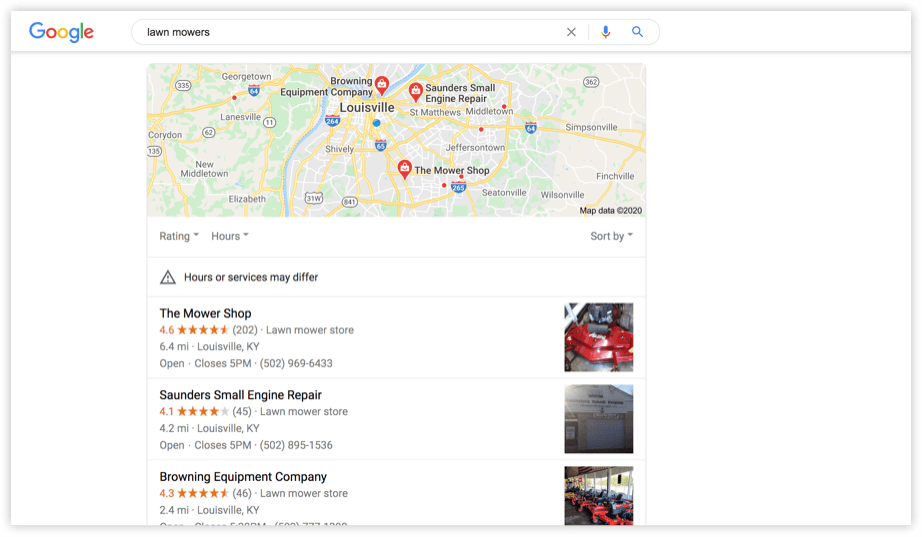 the Local Pack of featured search results displayed in Google SERPs for the keyword lawn mowers