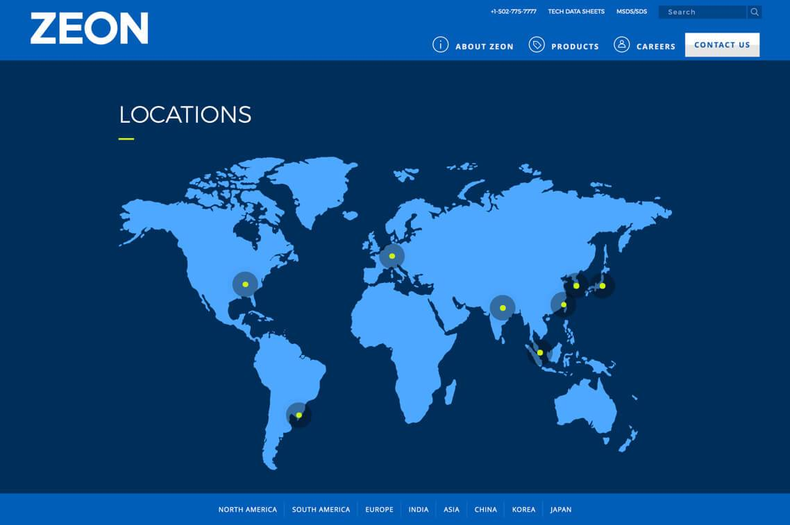 Zeon locations page
