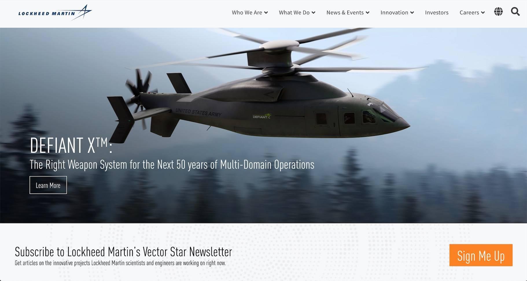 洛克希德马丁制造网站主页的图像,其中包含直升机的高质量照片