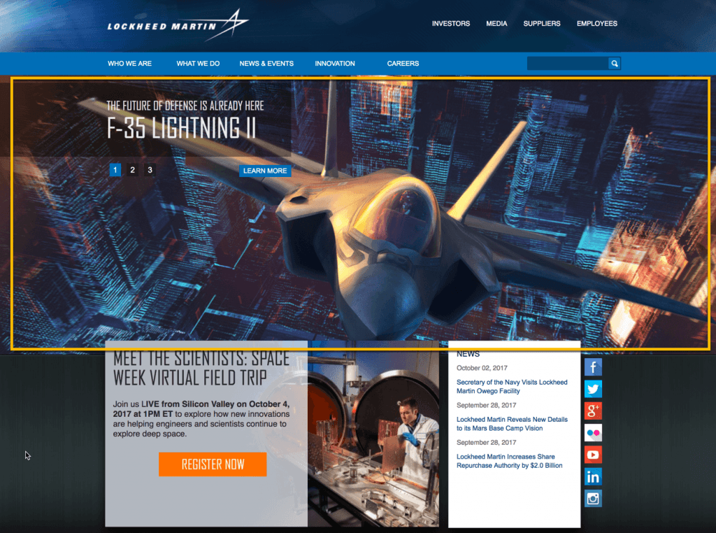 image of lockheed martin manufacturing website
