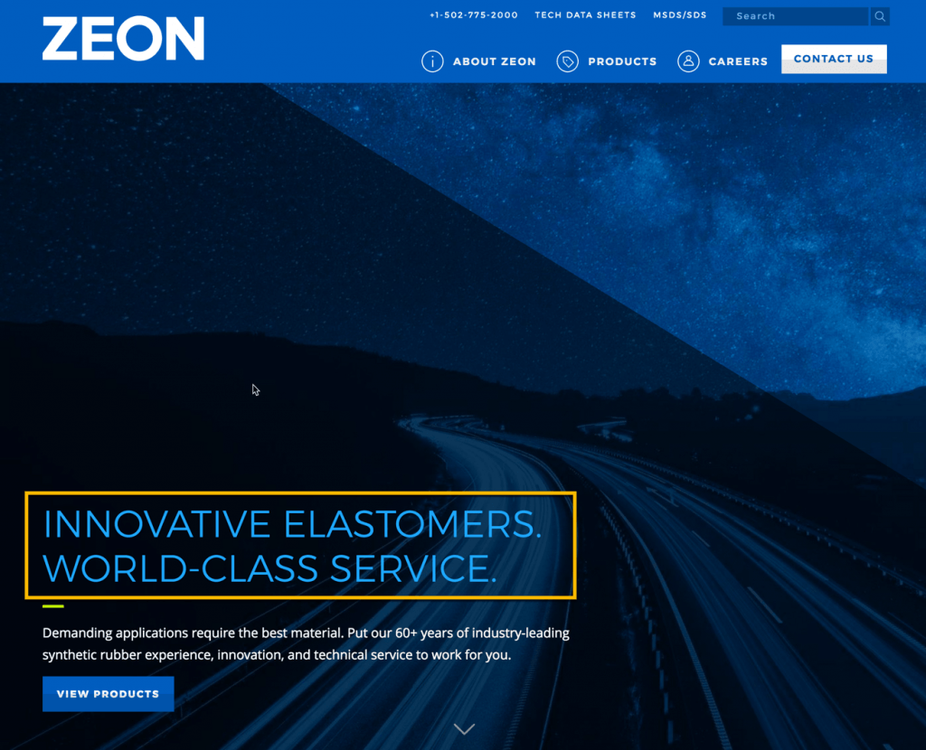 image of zeon chemicals website