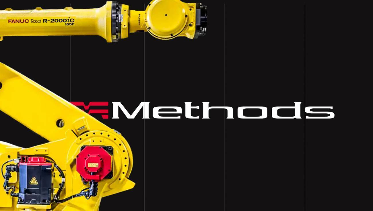 Methods machine logo with a yellow robot arm