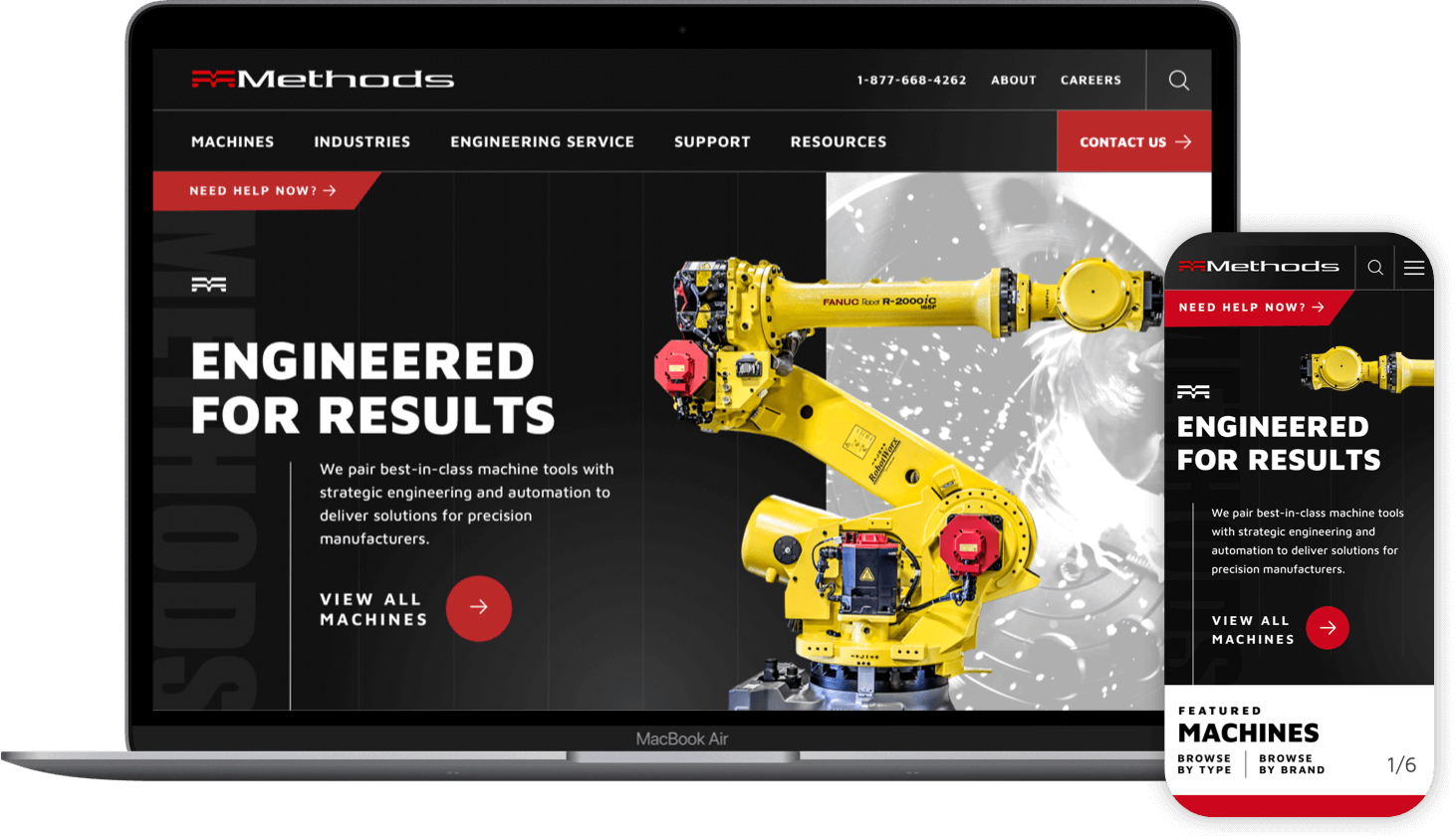 example of the Methods Machine Tools website on a laptop and phone