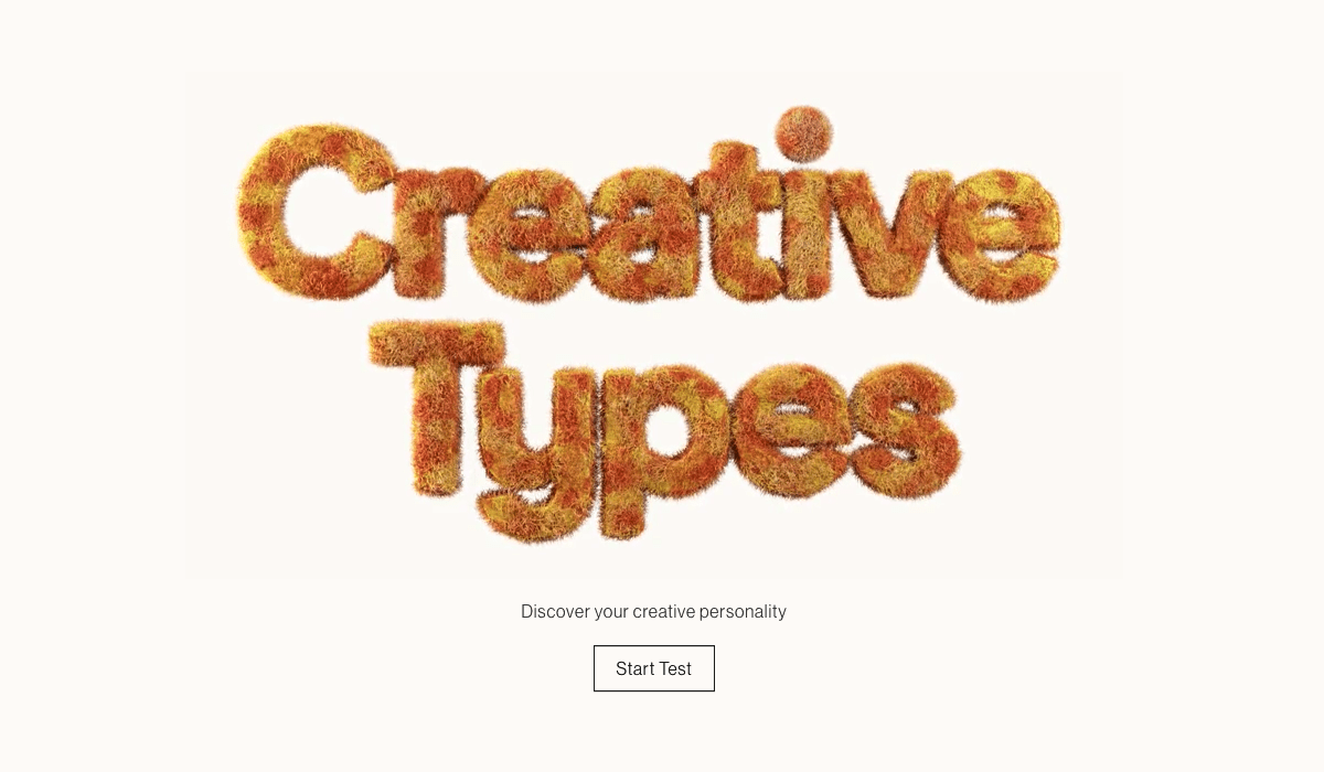 homepage of adobe's creative types microsite with colorful animated font and call to action