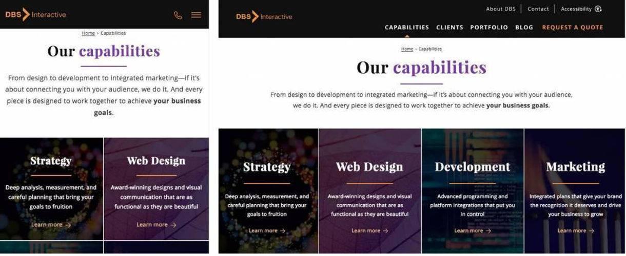 mobile vs desktop responsive design example DBS Interactive website