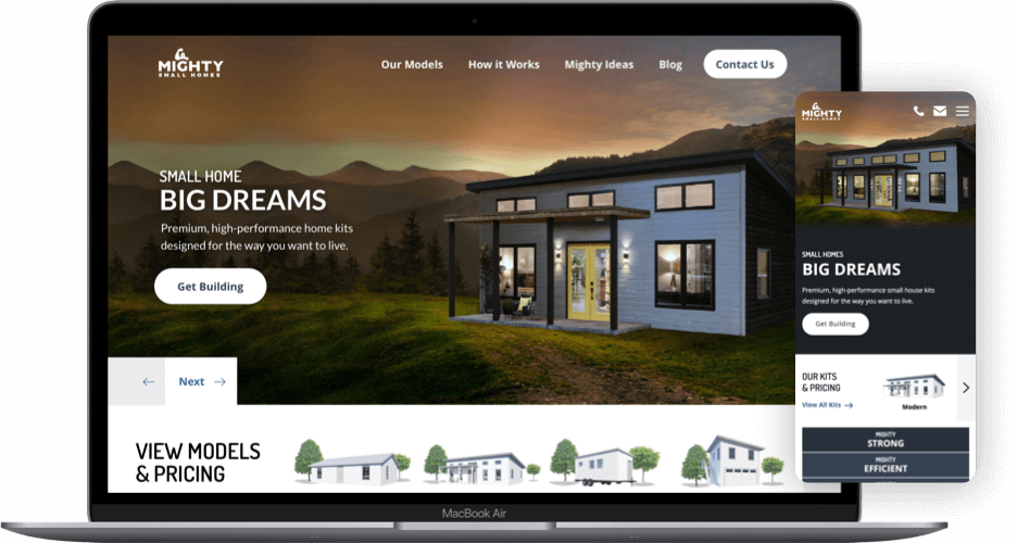 Mighty Small Homes website desktop and mobile views.