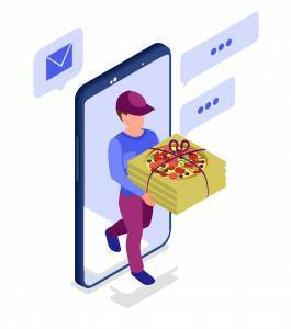 graphic illustration of a pizza delivery mobile app