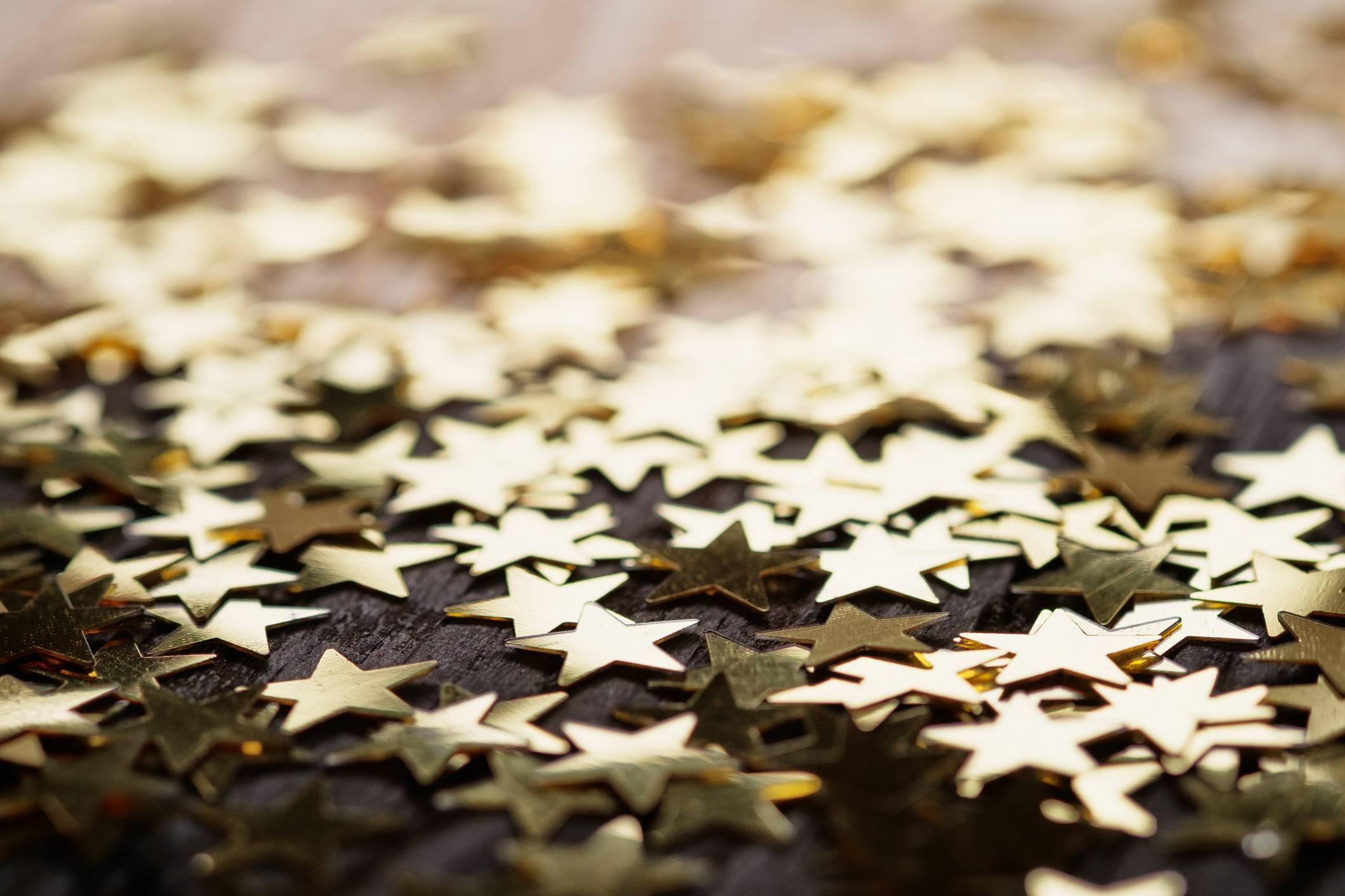 Golden stars on wood