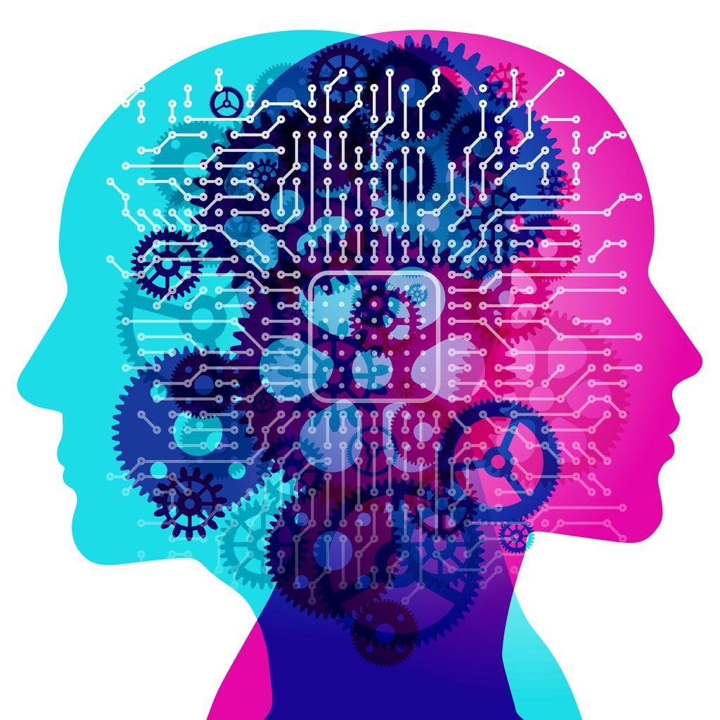 two human side by side silhouette profiles representing technical and creative components of SEO content overlaid with various semi-transparent machine gears and electronic circuit board pattern