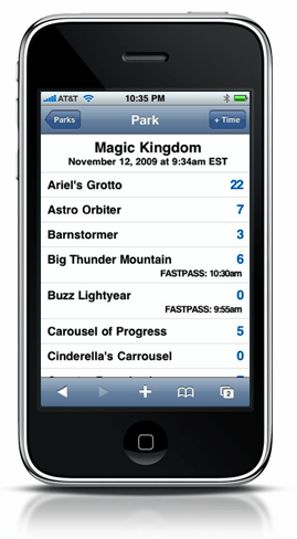 screenshot of a mobile website from 2009 on iPhone 3G