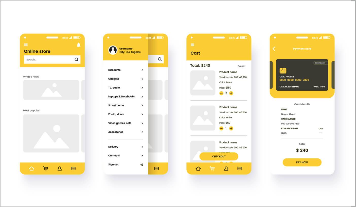 example of mobile web design prototypes