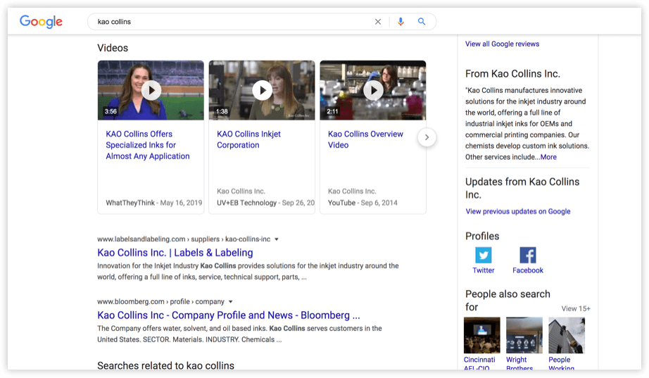 An example of video snippets in the Google search engine results page