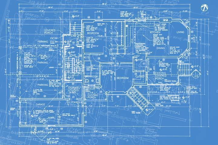 Blueprint of house rennovation.