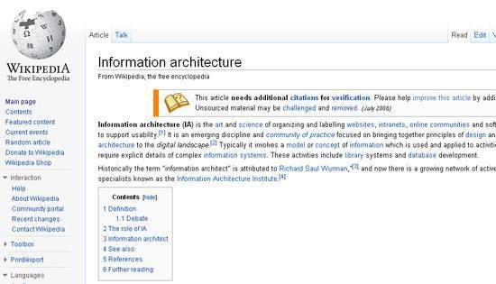 Screenshot from Wikipedia page on Information Architecture